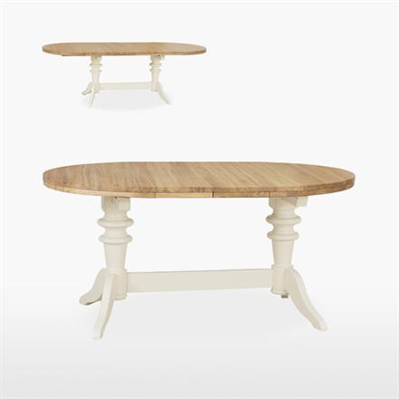 Coelo Round Extending Double Pedestal Dining Table with 2 Extensions Leaves