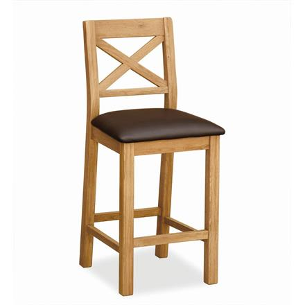Crealey Bar Stool with Brown Seat Pad