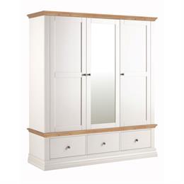 Annecy Oak Top Triple Wardrobe with 3 Drawers
