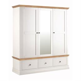 Annecy Oak Top Triple Wardrobe with 3 Drawers