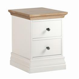 Annecy Oak Top 2 Drawer Narrow Bedside Chest