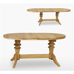 Reims Round Extending Double Pedestal Table with 2 Leafs