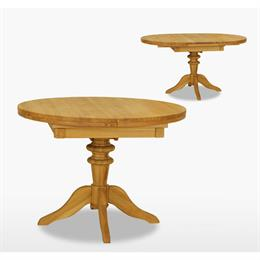 Reims Round Extending Single Pedestal Table with 1 Leaves