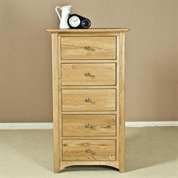 Casa Oak 5 Drawer Narrow Chest
