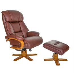 Cannes Swivel Recliner & Stool (in Chestnut)