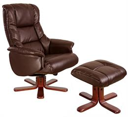 Shanghai Nut Brown Swivel Recliner & Stool