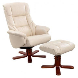 Shanghai Cream Swivel Recliner & Stool