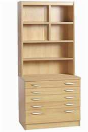 Compton A2 Plan Chest with Deep Lower Drawer and OSF Hutch