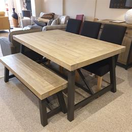 STRETFORD Dining Table, 3 Chairs and Bench