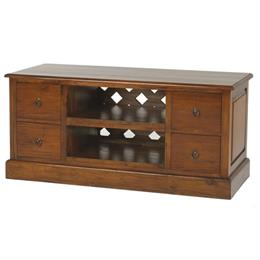 Mahogany Village TV Unit with Four Drawers
