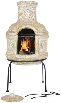 Star Flower Small Clay Chimenea with Grill