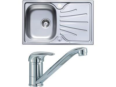 Single compact bowl sink and tap set