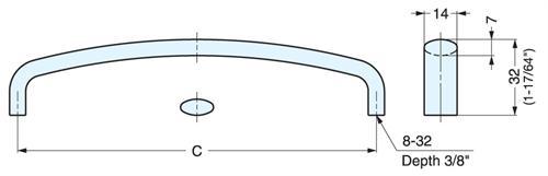 Handle (EK-R) in 316 Stainless Steel