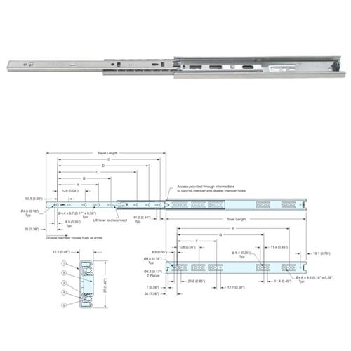 Drawer Runner in Stainless Steel, Ball Bearing (500mm)