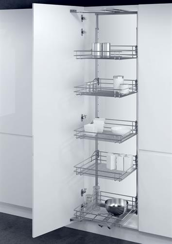 Larder unit with CLASSIC SILVER linear wire storage baskets