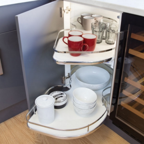 Hafele Corner Pull Out Shelving Unit, White Base With Polished Chrome Rectangular Rail