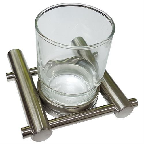 Satin Stainless Steel Tumbler Holder and Glass Tumbler