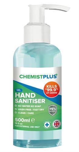 Hand Sanitiser, Gel Sice 500 ml with pump dispenser