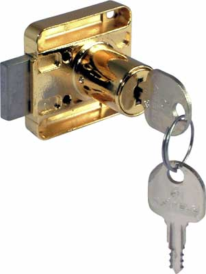 Rim lock, 18 mm cylinder, 26 mm backset, right handed, random key changes