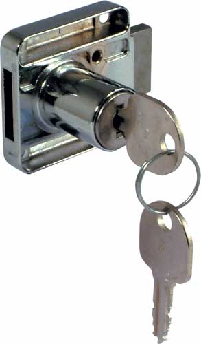 Rim lock, 18 mm cylinder, 26 mm backset, left handed, random key changes