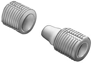Two piece dowel connector, plug-in