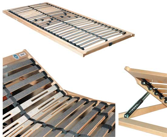 KF Sandbasic slatted frame with adjustable head and foot sections