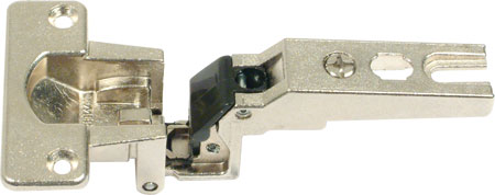 Grass 270d hinge with exposed axle, 30 mm cup, screw fixing, slide on arms