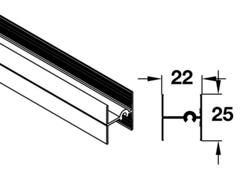 Profiles For 19 Mm System, Additional, If Required For Wider Or Sub Dividing Doors