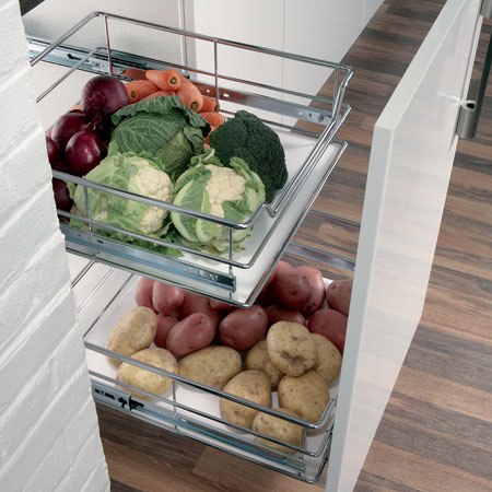 Acrylic insert for pull out veg basket - Black 600mm
