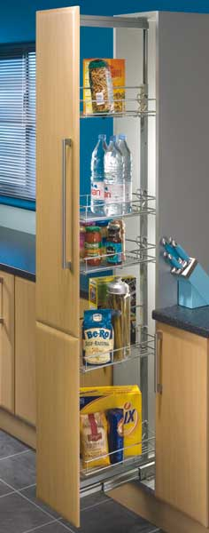 Larder units, centre mounting, height adjustable (1700-1950 mm), 300mm cabinet width