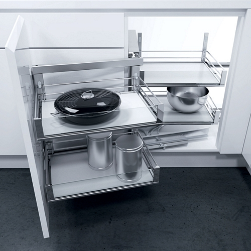 Wari Magic Corner swing out unit, automatic pull-out action, with ARTLINE glass sided