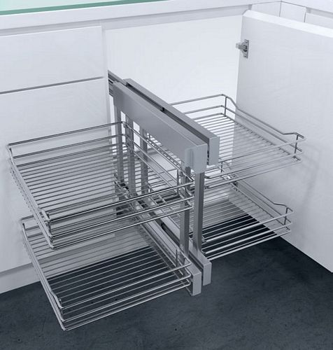 Cornerflex Swing Out Corner Unit With Classic Chrome Wire Baskets