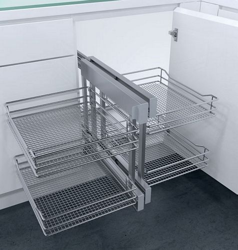 Cornerflex Swing Out Corner Unit With Saphir Mesh Chrome Wire Baskets