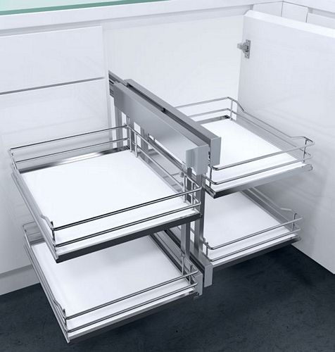 Cornerflex Swing Out Corner Unit With Premea White Solid Base Chrome Wire Baskets