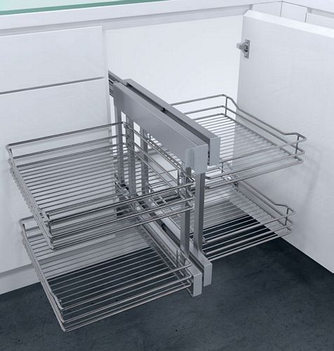 Cornerflex Swing Out Corner Unit With Classic Silver Wire Baskets
