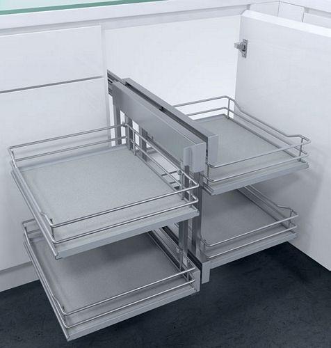 Cornerflex Swing Out Corner Unit With Premea Grey Solid Base Silver Wire Baskets