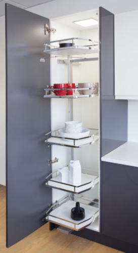 HäFele Swing Out Larder Units, 5 Baskets With White Solid Bases