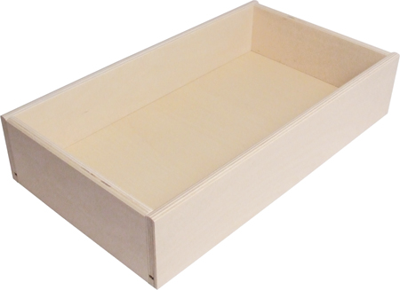 Plywood Drawer, Height 140 mm, Flat Packed with Lacquered MDF Base