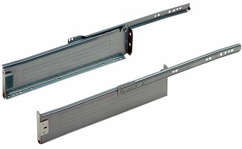 Metal drawer sides,  85 mm high, silver finish 400mm deep