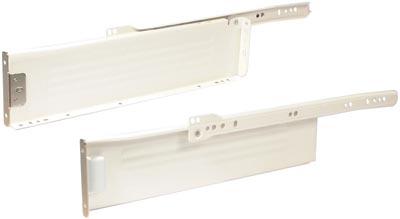 Metal drawer sides,  85 mm high, cream-white finish