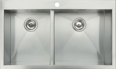 Stainless steel top mount double bowl