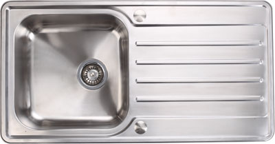 Stainless steel single bowl and drainer, 965 x 500 mm