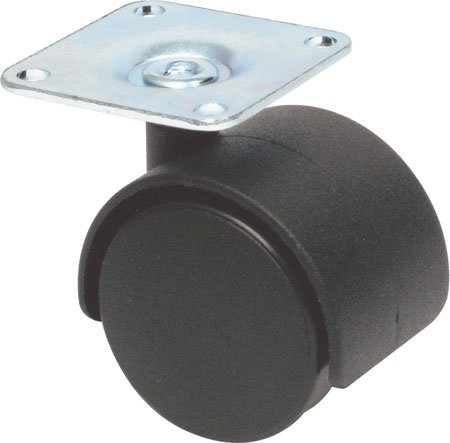 Twin wheel castors, plate fixing, hooded