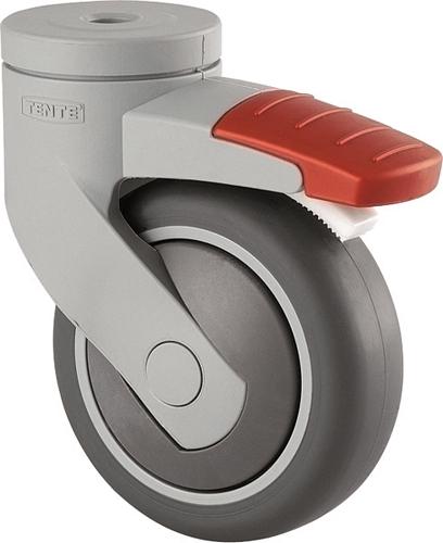 Swivel castor, 75mm diameter wheel, with 10mm pin hole