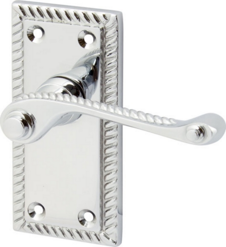 Georgian Scroll Lever Handles On Short Plate, Zinc Alloy