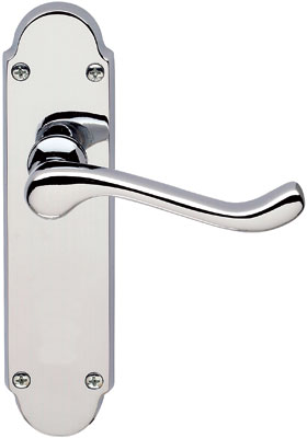 Lever handles, with latch backplate