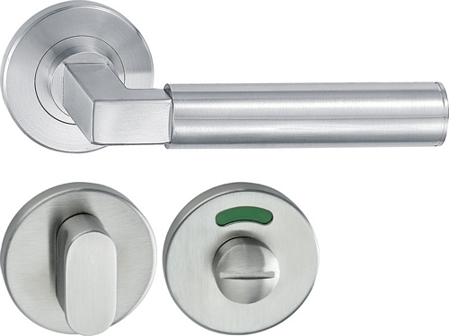 HL15 Lever handle set, stainless steel, WC release and inside turn