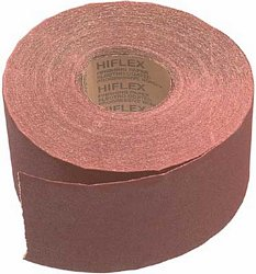Abrasive roll, 115 mm wide, maroon aluminium oxide, hand and power sanding