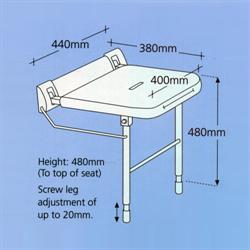 Shower Seat 380mm Projection With Legs
