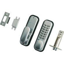 Push Button Digital Lock with Holdback Satin Chrome